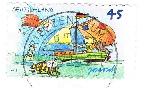Tiger und Tigerente auf einem Briefmarkenmotiv von Janosch