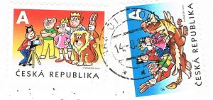 Motive aus dem Comic Čtyřlístek (vierblättriges Kleeblatt) in Diensten des Königs