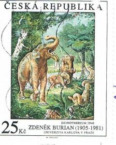 Briefmarke mit einer Illustration von Zdeněk Burian