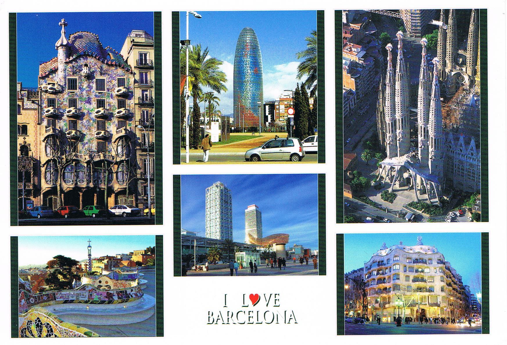 Meine erste Karte aus Spanien. Sie zeigt 6 verschiedene Motive aus Barcelona.
