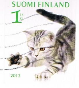 Briefmarke mit Katzenmotiv aus Finnland