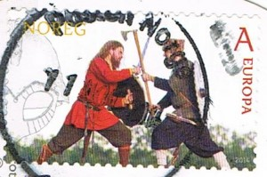 Kämpfende Wikinger auf einer Briefmarke aus Norwegen