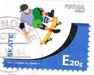 Skater auf einer Briefmarke aus Portugal
