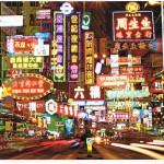 Die hell erleuchteten Straßen von Hongkong