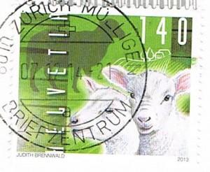 Briefmarke mit Lämmern aus der Schweiz