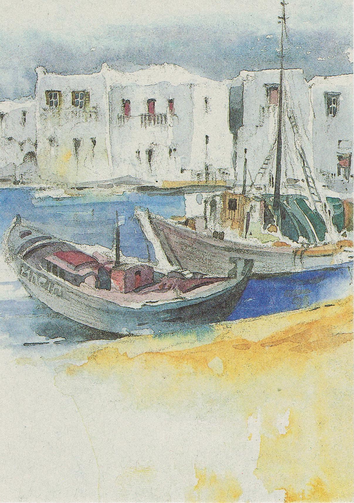 Aquarell: Boote am Strand aus Rostock