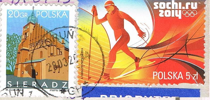 Gedenkmarke zur Olympiade in Sotschi 2014 aus Polen