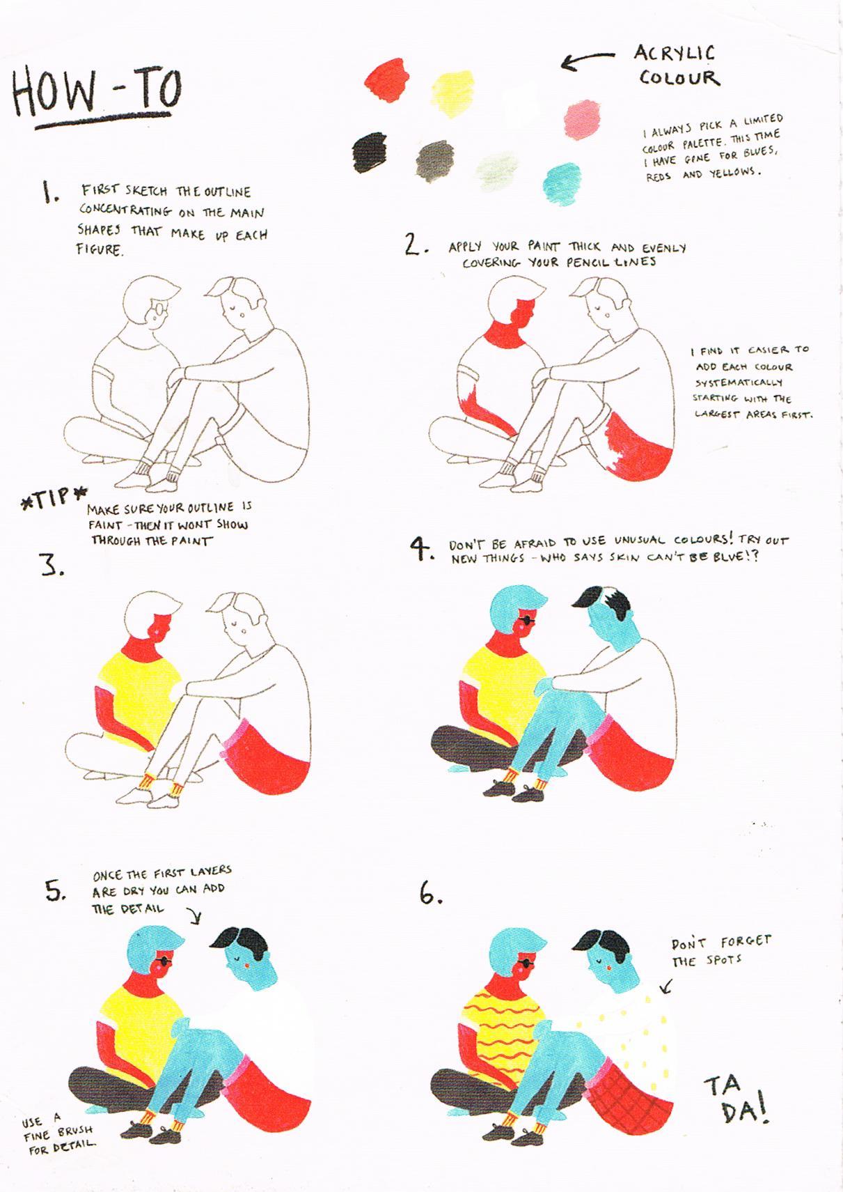 Postkarte mit Zeichenanleitung aus Belgien